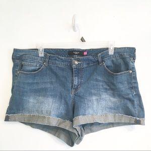 TORRID Plus Size Glitter Hem Denim Jean Shorts